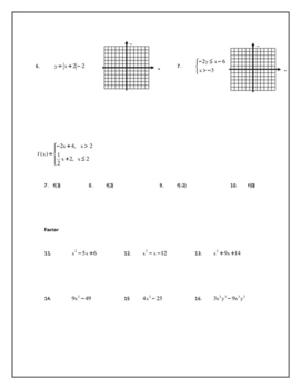 Algebra 2 Line of Best Fit and Piecewise Homework page