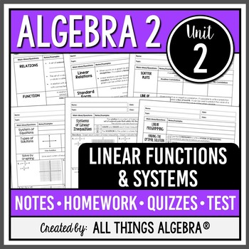 Linear Functions and Systems (Algebra 2 - Unit 2)
