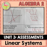 Linear Systems Assessments (Algebra 2 - Unit 3)