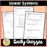 Linear Systems Daily Quizzes (Algebra 2 - Unit 3)