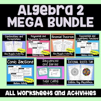 Algebra 2 MEGA Bundle Activities and Puzzle Worksheets by Sine on ...