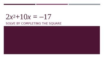 Algebra 2 Midterm Review Game