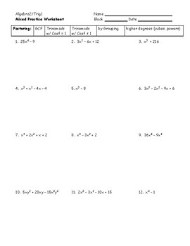algebra 2 mixed factoring practice worksheet by plain and simple geometry. Black Bedroom Furniture Sets. Home Design Ideas