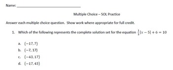 Algebra 2 Multiple Choice SOL Review