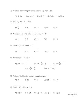 Algebra 2 Multiple Choice Test (50 Questions)