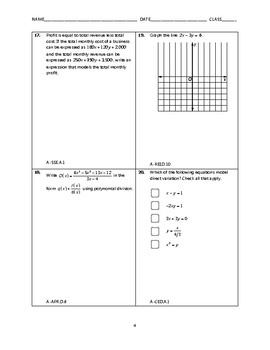 Algebra 2 Open-Ended EOC Review [100 Questions]