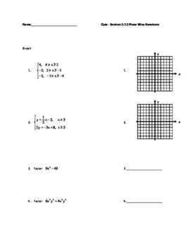 Algebra 2 Piece Wise Functions Quiz