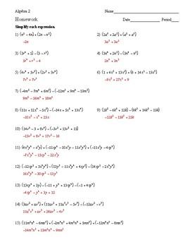 Algebra 2 - Polynomials - Homework Pack