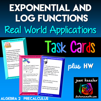 Logarthmic Equations Applications Task Cards plus Worksheet