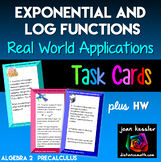 Logarithmic and Exponential  Equations Applications Task Cards plus Worksheet