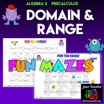 Algebra 2  PreCalculus  Domain and Range Fun Mazes