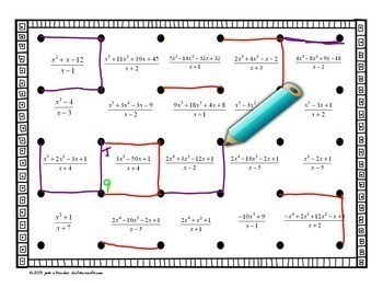 Algebra 2 PreCalculus Synthetic Division Dots and Boxes Fun Game