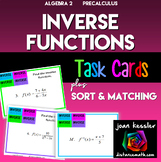 Inverse Functions Task Cards with Matching and Sort