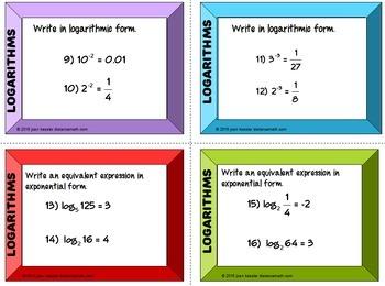 Logarithms Introduction Task Cards plus HW