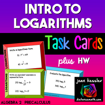 Logarithms Introduction Task Cards plus HW