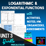 Logarithms Big Activity Bundle with Task Cards Quizzes Games QR HW
