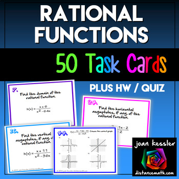 Rational Functions 50 Task Cards Quiz HW