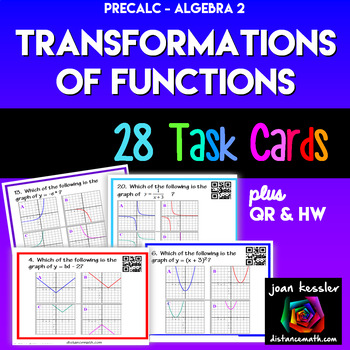 Algebra - PreCalculus Transformation of Graphs of Functions Task Cards QR HW