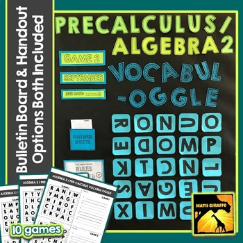 Algebra 2 / PreCalculus Vocabulary Game with Bulletin Board Option Included