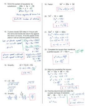 Editable Algebra 2 PreTest/Review and Final Exam