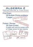 Editable Algebra 2 PreTest/Review and Final Exam