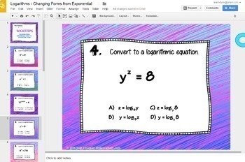 Logarithms and Exponentials Changing Forms Digital Task Cards with GOOGLE Slides