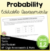 Algebra 2: Probability Unit Assessments