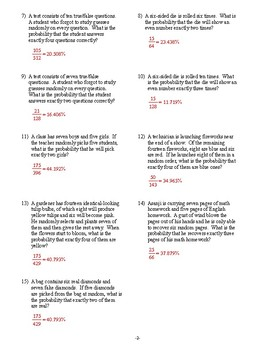 Algebra 2 - Probability and Statistics - Homework Pack