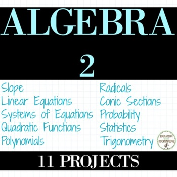 Algebra 2 Project Bundle for Algebra 2 Curriculum
