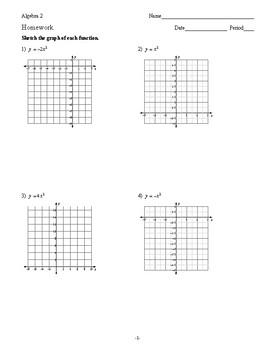 Algebra 2 - Quadratic Functions - Homework Pack