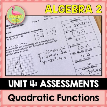 Algebra 2: Quadratic Functions and Equations Assessments Only