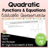 Quadratic Functions Assessments (Algebra 2 - Unit 4)
