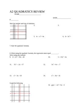 Algebra 2 Quadratics Review, SLewis