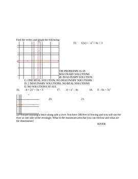 Algebra 2 Quadratics Test, SLewis