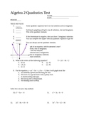 Algebra 2 Quadratics Test, SLewis