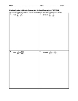 Algebra 2 Quiz - Adding & Subtracting Rational Expressions BUNDLE