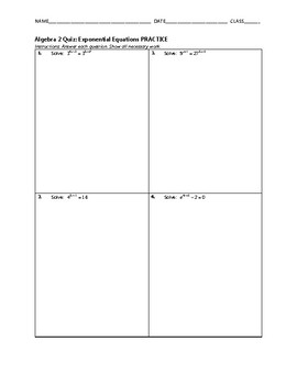 Algebra 2 Quiz - Exponential Equations BUNDLE
