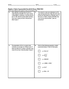 Algebra 2 Quiz - Exponential Growth and Decay BUNDLE