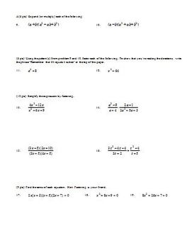Algebra 2 Quiz Factoring Fall 2007 (Editable)