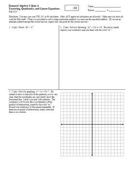 Algebra 2 Quiz Factoring Quadratics and Linear Equations F