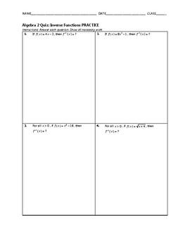 Algebra 2 Quiz - Inverse Functions BUNDLE