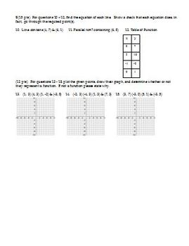 Algebra 2 Quiz Linear Functions Fall 2007 two versions two pages each (Editable)