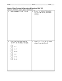 Algebra 2 Quiz - Polynomial Expressions and Equations BUNDLE