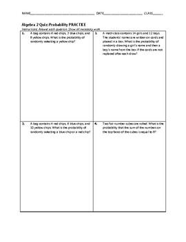 Algebra 2 Quiz - Probability BUNDLE