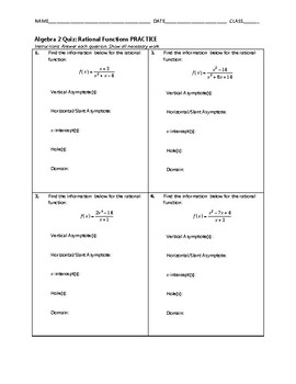 Algebra 2 Quiz - Rational Functions BUNDLE