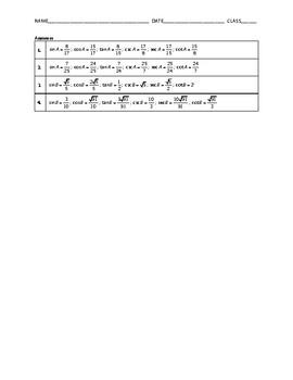 Algebra 2 Quiz - Right Triangle Trigonometry BUNDLE
