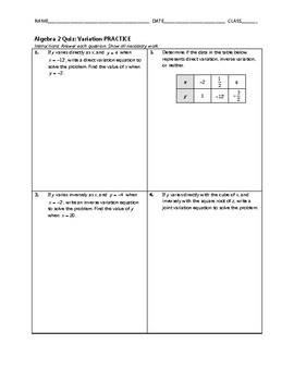 Algebra 2 Quiz - Variation BUNDLE
