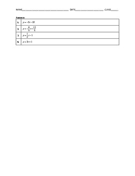 Algebra 2 Quiz - Writing Equations of Lines BUNDLE