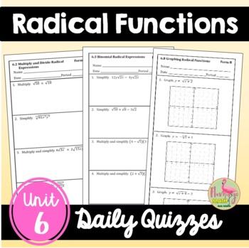 Graphing Radical Functions Algebra 2 Unit 6 TPT math Algebra