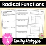 Radical Functions Daily Quizzes (Algebra 2 - Unit 6)